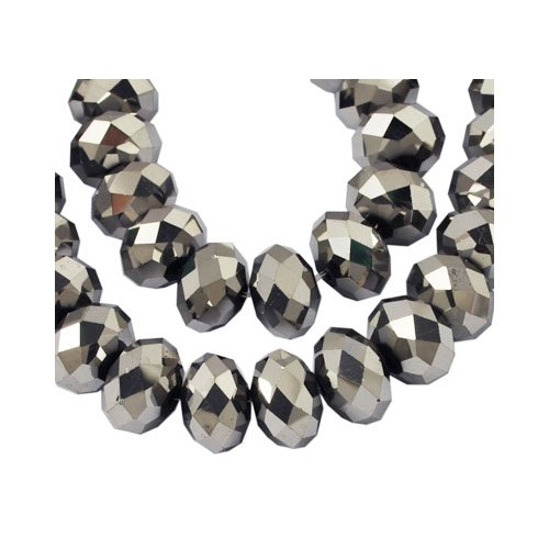 Strand 70+ Silver Czech Crystal Glass 6 x 8mm Faceted Rondelle Beads HA20490 (Charming Beads)