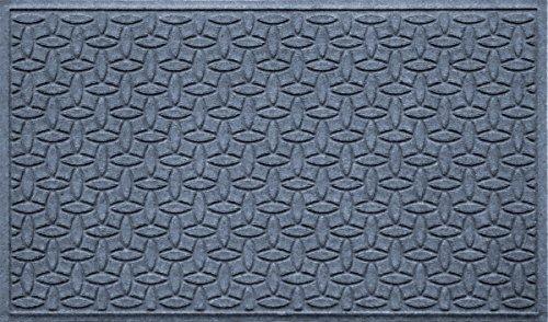 (Bungalow Flooring Waterhog Indoor/Outdoor Doormat, 3' x 5', Skid Resistant, Easy to Clean, Catches Water and Debris, Ellipse Collection, Bluestone)