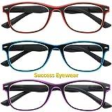 Reading Glasses Set of 3 Spring Hinge Comfort 3 Color Fashion Readers Glasses for Reading Men & Women +1.75