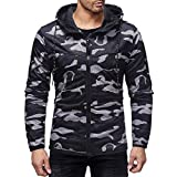 PASATO Men's 2018 New! Autumn Winter Classic Camouflage Print Hoodie Sweatshirt Long Sleeve Top Blouse Hot Sale(Black, 2XL)