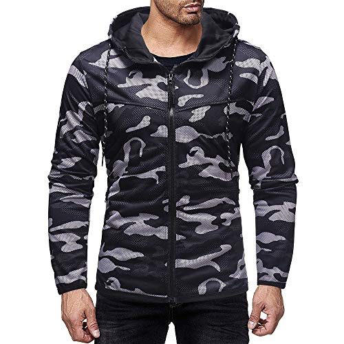 KASAAS Hoodie Tops for Men Camouflage Print Drawstring Hooded Zipper Pockets Long Sleeve Casual T-Shirt Vest Blouse(Medium,Black) -