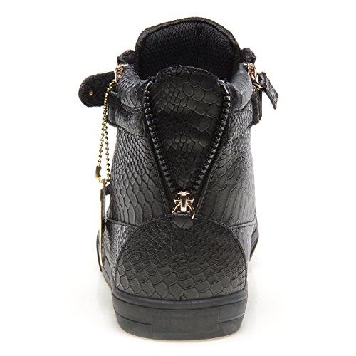 Hoppe J75 Menns Zion Rund Tå Rhinestone Stropp Blonder-up High-top Sneaker Svart