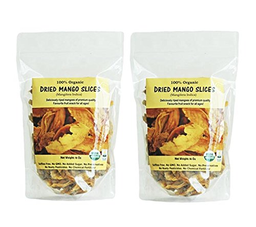 Indus Organics 100% Dried Mango Slices, Raw, 2 Lb (2 Bags of 1 Lb), Sulfite Free, No Added Sugar, Premium Grade, Freshly (Organic Slices)