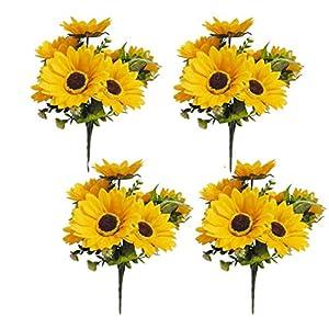 LSKY 4 Bunches Bouquet Artificial Sunflower Floral Arrangement,28 Flowers per Bunch,Faux Sunflower Bouquet for Home Decoration Wedding Decor 86