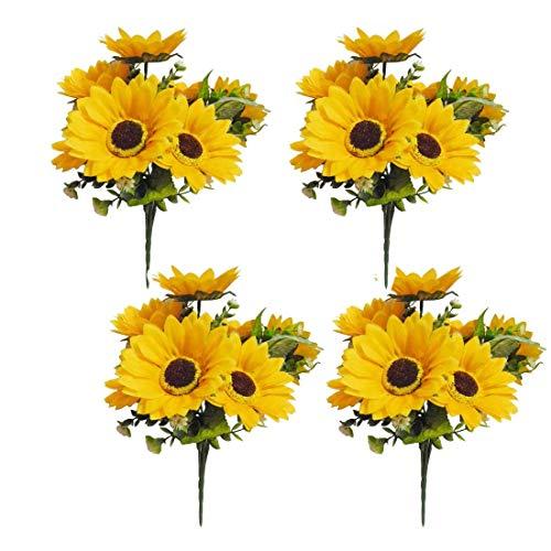 LSKY 4 Bunches Bouquet Artificial Sunflower Floral Arrangement,28 Flowers per Bunch,Faux Sunflower Bouquet for Home Decoration Wedding Decor