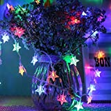 Star Fairy Lights Colorful Galaxer 40 Pcs 4 Colours LED Star Night Christmas String Lights 20ft/6M Constant Light/Blinking Mode Waterproof Decoration Lights for Holiday Birthday and Pa