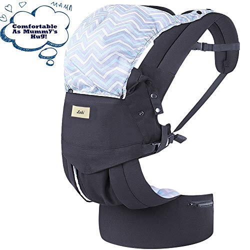 Labi Premium Cotton Baby Carrier with Adjustable Bucket Seat, Ergonomic All Position Baby Backpack with Tuckaway Hood, One of The Most Comfortable Baby Carrier Wrap for Infant & Toddler, Black