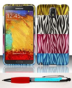 Accessory Factory(TM) Bundle (the item, 2in1 Stylus Point Pen) For Samsung Galaxy Note 3 N9000 - Rubberized Design Case Cover Protector Multi Zebra