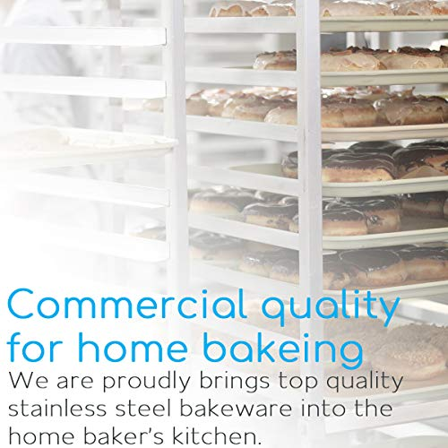 Baking Sheet Set of 3, Bastwe Cookie Tray Pan Stainless Steel Baking Pan, Healthy & Non Toxic, Rust Free & Superior Mirror Finish, Easy Clean & Dishwasher Safe by Bastwe (Image #4)
