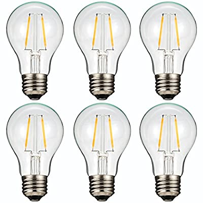 A19 LED Classic Edison Light Bulb 2W 2700k Warm White for the home, office, lighting fixtures (6 pack)