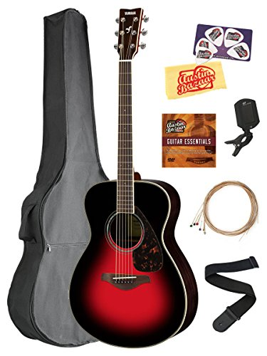Yamaha FS830 Solid Top Small Body Acoustic Guitar – Dusk Sun Red Bundle with Gig Bag, Tuner, Strings, Strap, Picks, Austin Bazaar Instructional DVD, and Polishing Cloth