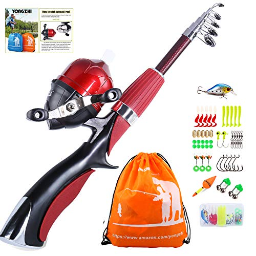 - YONGZHI Kids Fishing Pole with Spincast Reel Telescopic Fishing Rod Combo Full Kits for Boys, Girls, and Adults-Red