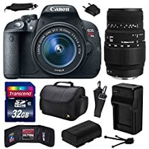 Canon EOS Rebel T5i (700D) Digital SLR with 18-55mm STM and Sigma 70-300mm f/4-5.6 DG Macro Lens includes 32GB Memory + Large Case + Extra Battery + Travel Charger + Memory Card Wallet + Cleaning Kit (32GB Value Bundle) 8595B003