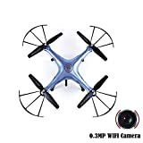 CEStore SYMA X5HW Headless Mode 6 Axis Gyro Quadcopter Drone with 0.3MP 1080P HD WIFI FPV Real-Time Aerial Photo Video Camera,360 Degree 3D Rotation Flips, LED Light for Night Flying-Blue Color