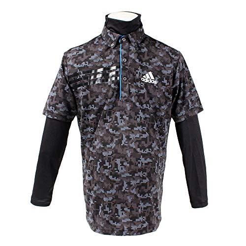 アディダス Adidas 半袖シャツ?ポロシャツ CP ジオメトリック レイヤード半袖ボタンダウンポロシャツ ブラック L