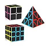D-FantiX Speed Cube Set Carbon Fiber 2x2 3x3 Pyraminx Bundle, Magic Cube Puzzle Toys for Kids