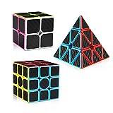 D-FantiX Speed Cube Set Carbon Fiber 2x2 3x3 Pyraminx Bundle, Magic Cube Puzzle