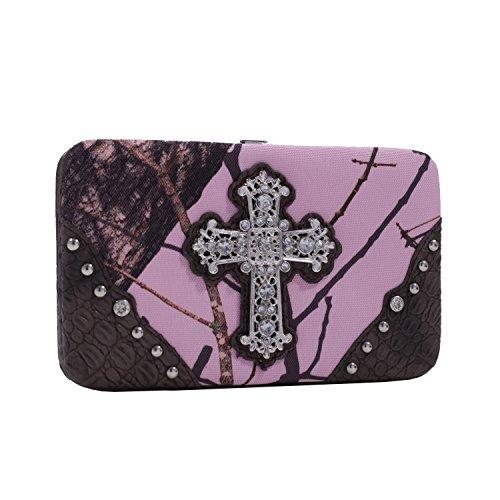 stie Mossy Oak Hard Case Snap Wallet, Camouflage/Pink/Trim Brown, 7.5 x 1 x 4.5-Inch (Pink Trim Snap)
