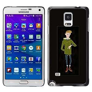 Tipo fresco hombre inconformista Invierno Tiempo Sketch- Metal de aluminio y de plástico duro Caja del teléfono - Negro - Samsung Galaxy Note 4