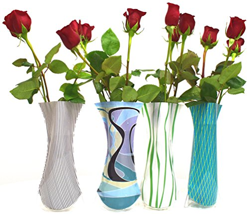 (Vazz the vase with class - Foldable flower vase/Includes 4 different designs/Price reduced for limited time/Modern and durable plastic vase/Ideal for bridal and baby shower décor)