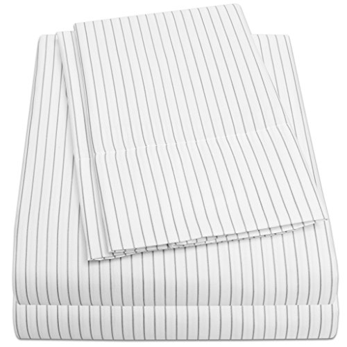1500 Supreme Collection Bed Sheets - PREMIUM QUALITY 4-PIECE BED SHEET SET, SINCE 2012 - Deep Pocket Wrinkle Free Hypoallergenic Bedding - 4 Piece Set - White Body/Gray Pinstripe - (Stripe Queen Flat Sheet)