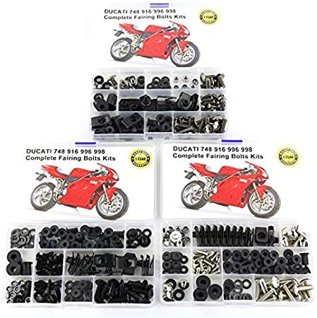 YUQINN Motorbike Parts For Ducati 748 916 996 998 Motorcycle Accessories Full Fairing Bolts Kit With OEM Style Washer Fastener Clips Nuts Screws Steel Color : Silver