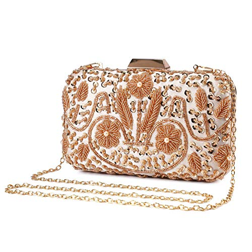 - UBORSE Women Clutch Bag Wedding Beaded Sequins Evening Purses Vintage Prom Handbags Crystal Cocktail Chic Party Bags Gold