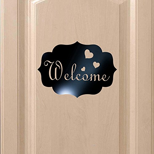 (NIHAI Acrylic 3D Stereo Mirror Wall Stickers, Welcome Letter Pattern, Peel and Stick Removable Art Mural Decor for Living Room Bedroom Sofa Background Office Home Decor (Black))