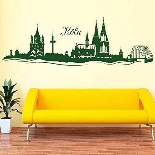 """Wandtattoo-Loft """"Skyline Köln  - - - Wandtattoo   49 Farben   3 Größen schwarz   80 x 258 cm B00Q306BEU Wandtattoos & Wandbilder 197709"""
