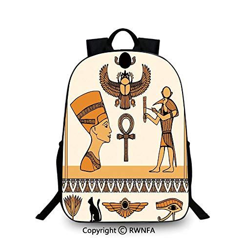 (Backpack for Kids,Historical Ancient Symbols Set with Nefertiti Profile Antique Artwork Plain Bookbag Travel Daypack Ivory Marigold Black)