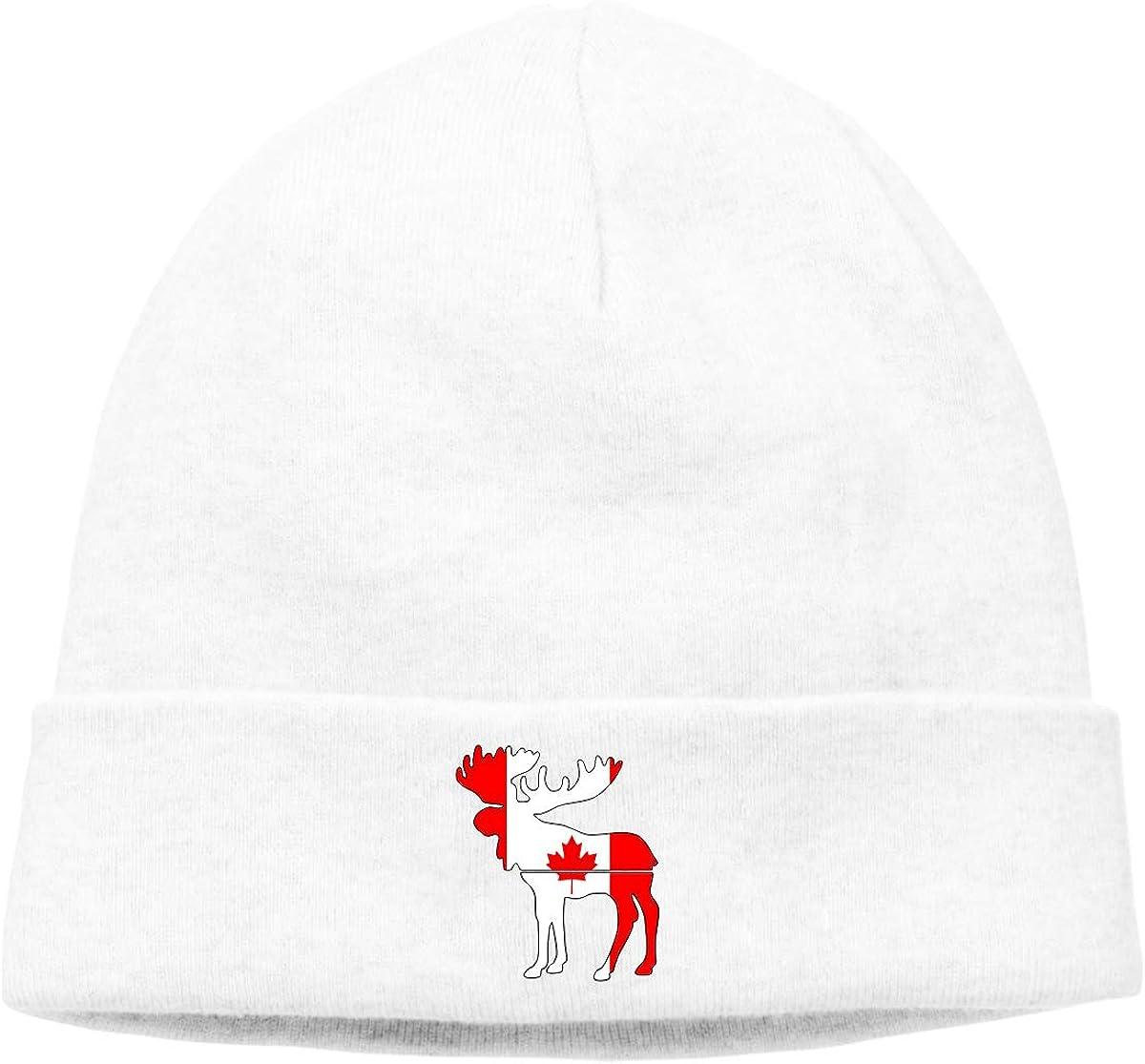 BBlooobow Men Women Moose Canada Flag Soft Skull Cap
