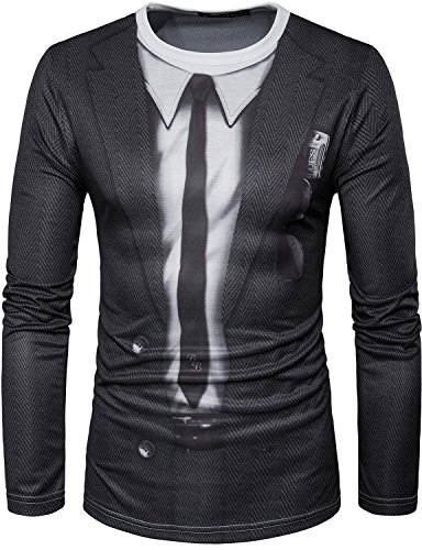Whatlees Mens Unisex Hipster 3D Printed Retro Prom Tuxedo Suit Tie Long Sleeve T Shirt/Crew Neck Tops T042 (Retro Suits For Mens)