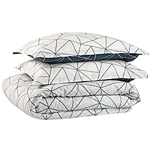 Rivet Triangle Geometric Cotton Duvet Cover Set , Full/Queen, Navy