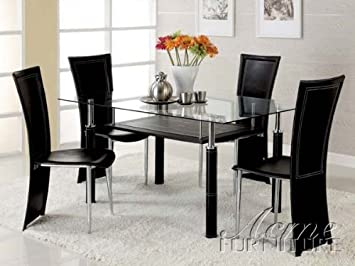 Amazoncom 5pc Dining Table and Chairs Set in Black Leatherette