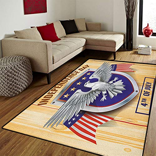 4th of July,Bath Mat for tub,American Bald Eagle and Flags Pattern on a Heraldic Emblem Design Wooden Board,Bath Mat Bathroom Mat with Non Slip,Multicolor,5x8 ft ()