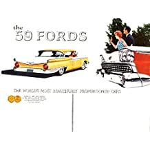 FULL COLOR 1959 FORD PASSENGER CAR DEALERSHIP SALES BROCHURE - ADVERTISMENT Includes Custom Series, Custom 300 & Fairlaine Series, Fairlane 500 - Wagons, Convertible - 55