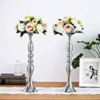 Nuptio 2 Pcs Versatile Metal Flower Arrangement Gold, 12.6 H Candle Holder Stand Set Candlelabra for Wedding Party Dinner Centerpiece Event Road Lead Restaurant Hotel Decoration