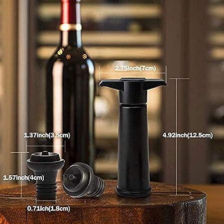 Queta Tapón de Almacenamiento al Vacío de Vino Tinto + Abridor de Botellas + Decantador Juego de Herramientas de 7 Piezas Bomba Negra
