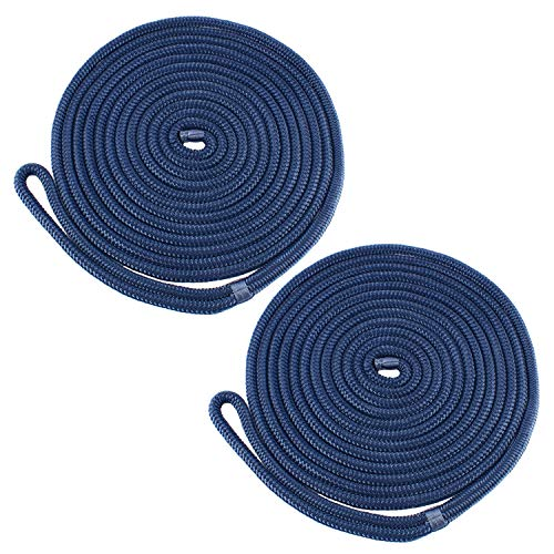 - Amarine Made 1/2 Inch 25 FT Double Braid Nylon Dockline,Mooring Rope Double Braided Dock Line (2-Pack,Cadet Blue)