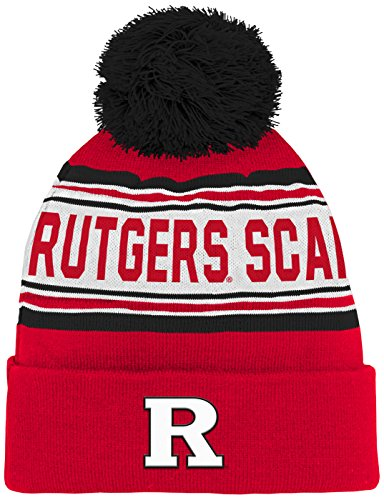 NCAA Rutgers Scarlet Knights Kids & Youth Boys Jacquard Cuffed Knit Hat w/Pom, Red, Youth One (Scarlet Knit Hat)