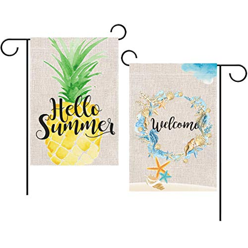 - Toperd Welcome Sea Wreath Hello Summer Pineapple Garden Flag Vertical Double Sided Burlap Banner House Flag for Home Outdoor Yard Decor 12 x 18 Inch