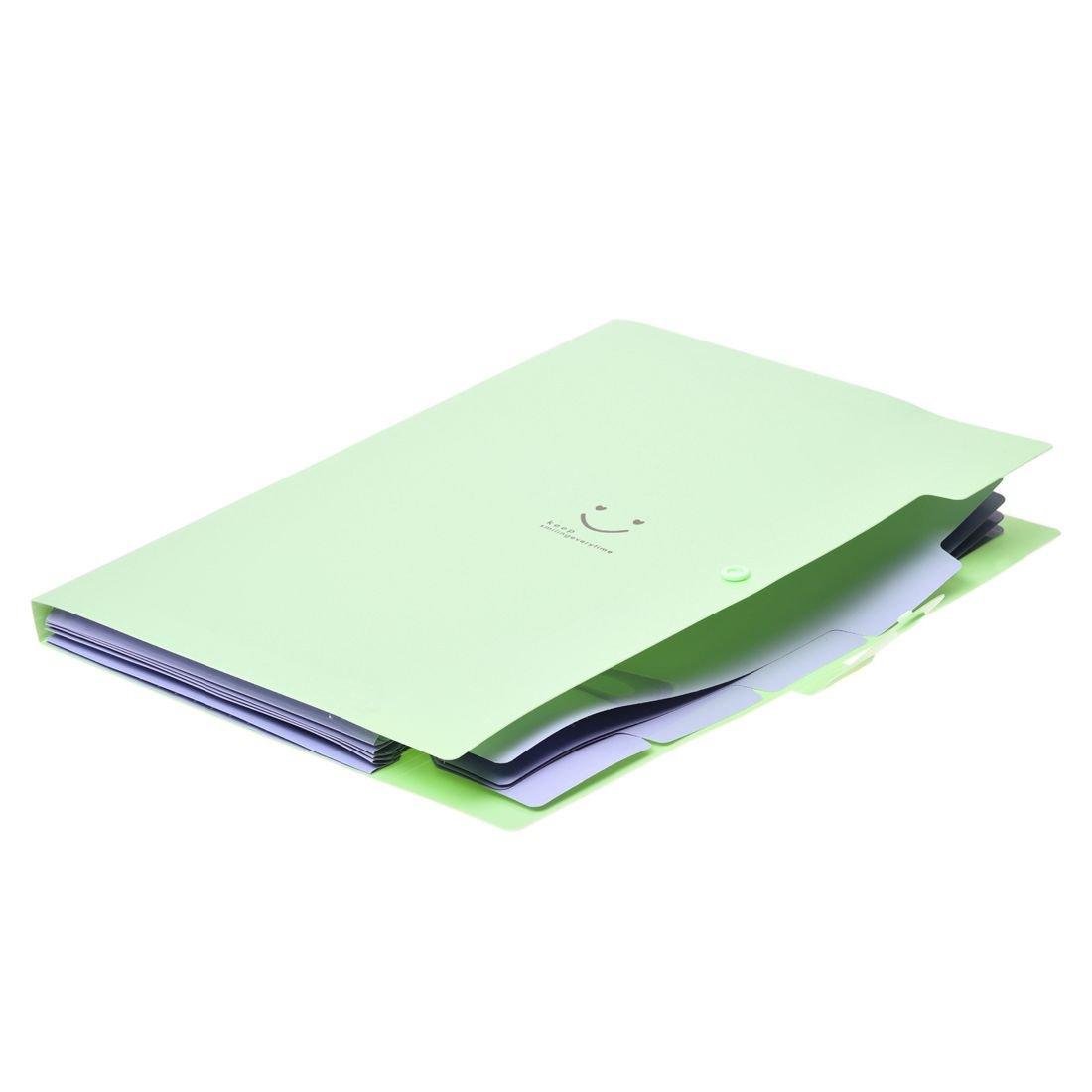Amazon.com : SODIAL(R) Kawaii FoldersStationery Carpeta File Folder 5layers Archivadores Rings A4 Document Bag Office Carpetas£¨Light Green£ : Office ...