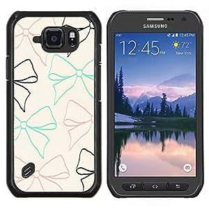 Bow lazo del modelo beige del trullo Brown Negro- Metal de aluminio y de plástico duro Caja del teléfono - Negro - Samsung Galaxy S6 active / SM-G890 (NOT S6)