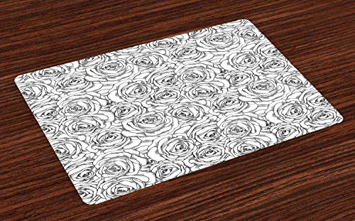- Ambesonne Black and White Place Mats Set of 4, Romantic Natures in Sketch Art Style Monochromatic Rose Bouquet, Washable Fabric Placemats for Dining Room Kitchen Table Decor, Black White