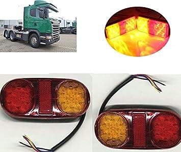 luces de cola -2pcs 14 LED Lamparas de luz trasera Junta freno de cola de indicador lampara de remolque carro y camion 12v: Amazon.es: Coche y moto