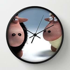 "Timex Universal Indoor/Outdoor Clock Black And White Sheep Black Round Frames Wall Clock Art Design Watch Wall 10"" Diameter Digital Wall Clocks"