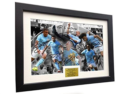2017/18 Premier League Champions Celebration 12x8 A4 Signed Manchester City Pep Guardiola - Kevin De Bruyne - Sergio Agüero - Raheem Sterling - Gabriel Jesus - Leroy Sane - Autographed Photo Photogr