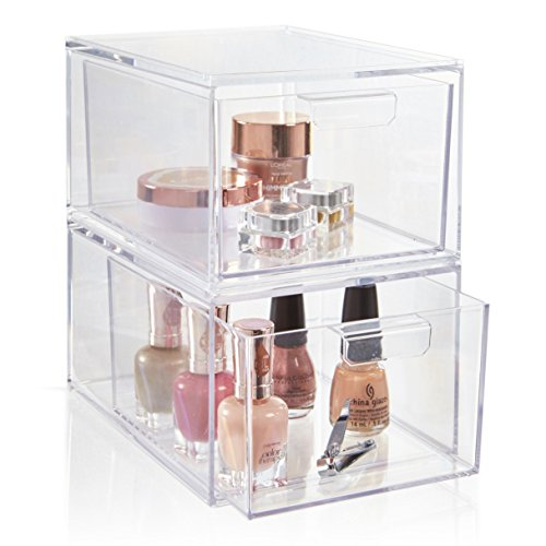 Set of 2 Premium Quality Stackable Cosmetic Storage and Makeup Palette Organizer Drawers | Audrey Collection