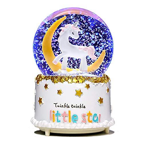 VECU Unicorn Snow Globe, 80 MM Manual Snowfall Cartoon Moon Music Box Home Decoration for Girls Kids Granddaughters Babies Birthday Gift, Musical, Resin/Glass