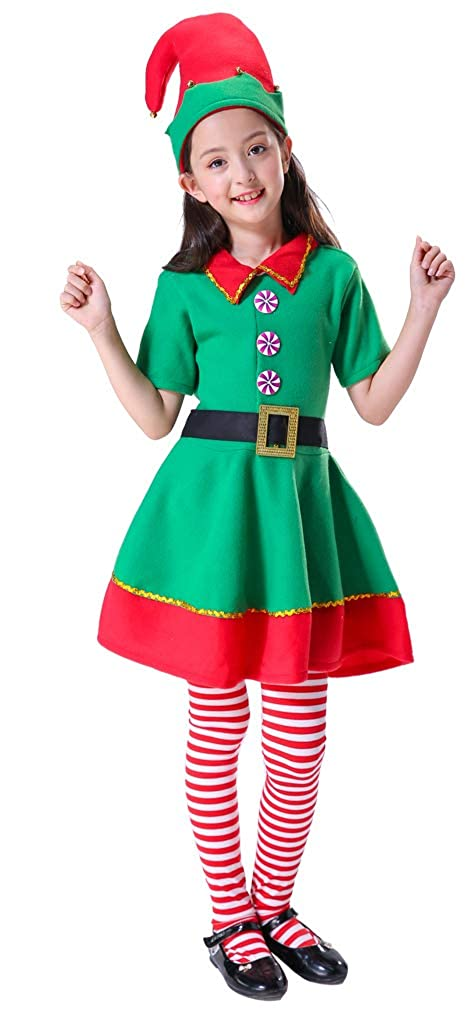 402db7fe5e46 Amazon.com: H-Shero Christmas Elf Costume Girl Women Holiday Dress 4-Piece  Set Plus Size Red Green: Clothing